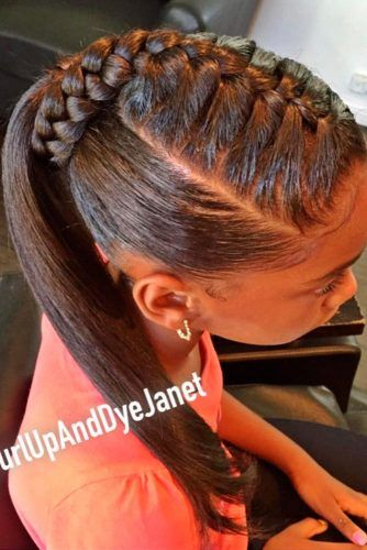 High Pony With Braided Base #ponytail #updo #braids #naturalhair