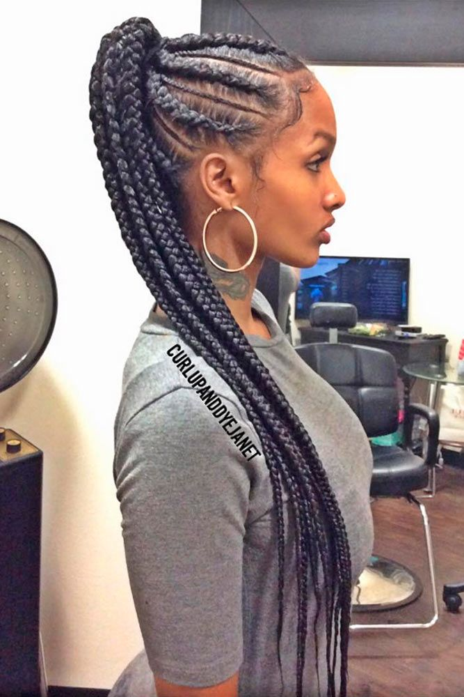 Braided Cornrow Ponytail #ponytail #braids #updo #naturalhair