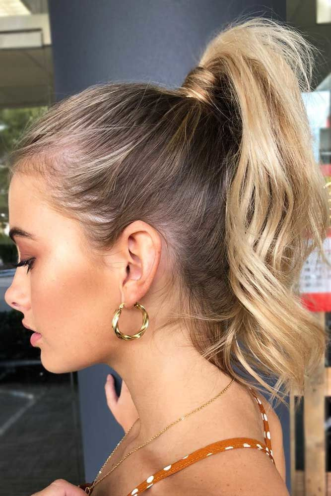 High Wavy Pony For Shoulder Length Hair #ponytails #updo