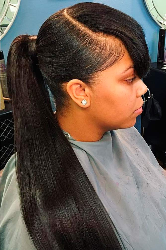 Low Ponytail With Bangs #ponytail #updo #bangs #naturalhair