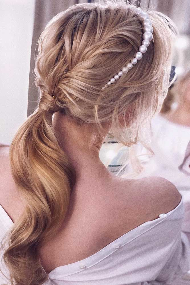 Low Pony With Pearl Headband #ponytails #updo