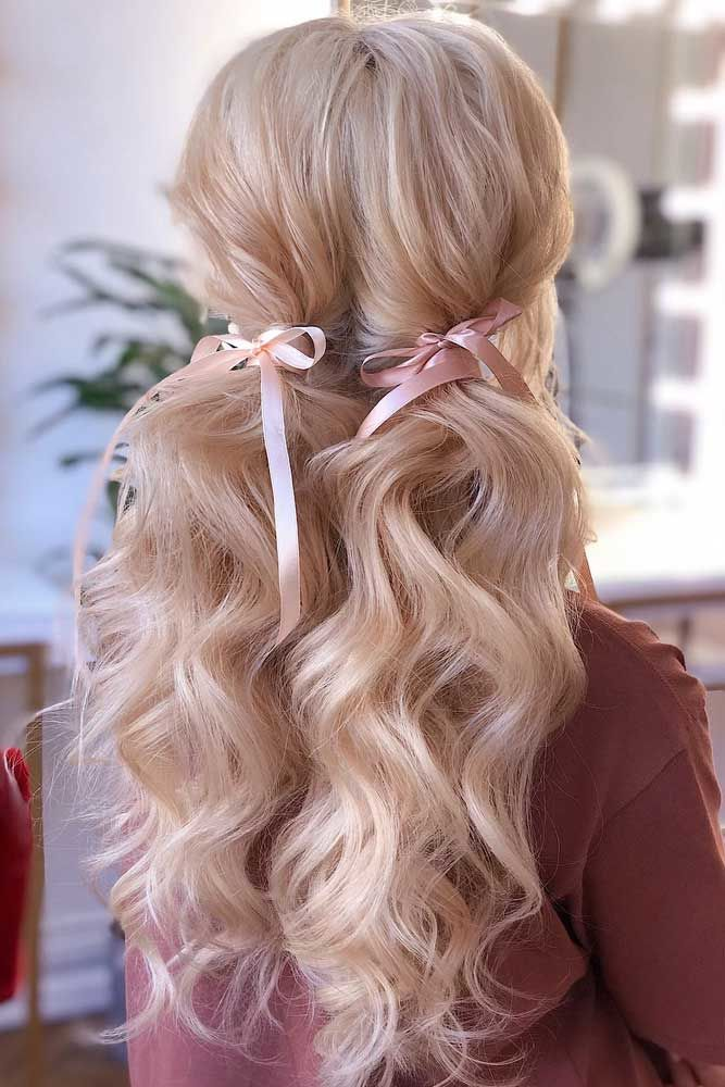 Low Ponytails With Ribbons #ponytails #updo