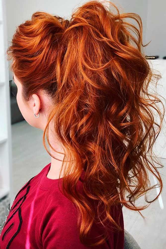 Wavy Ponytail Hairstyles #ponytails #updo