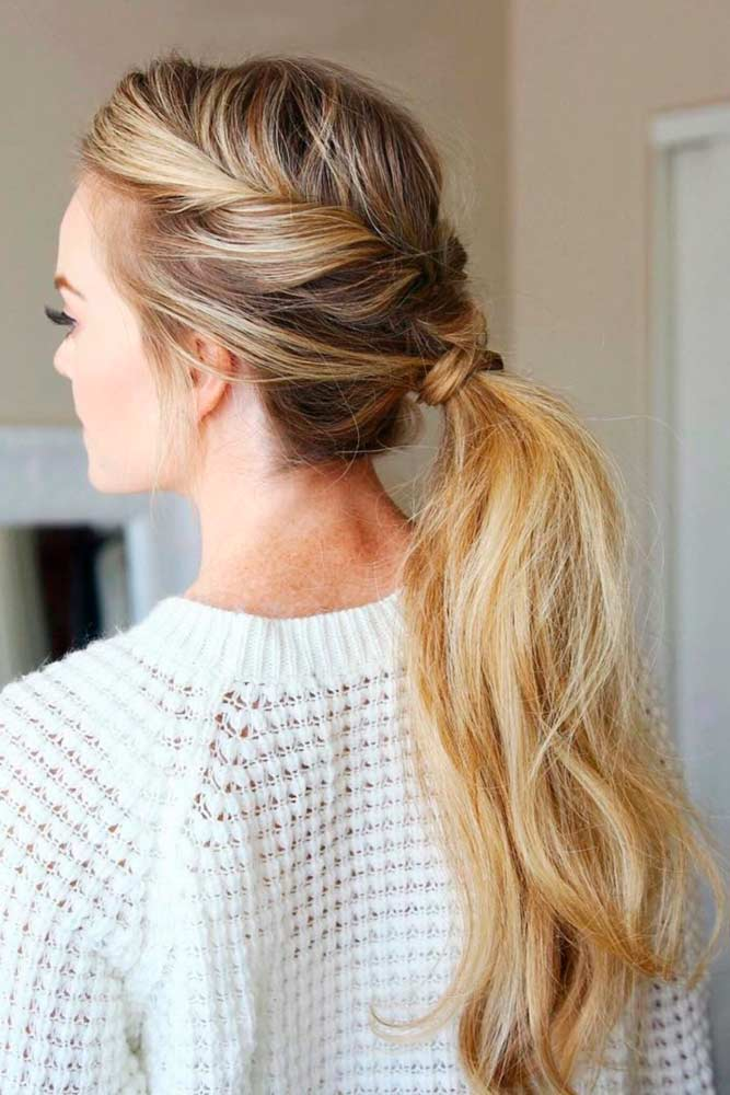 Low Twisted Pony Blonde #updo #ponytail