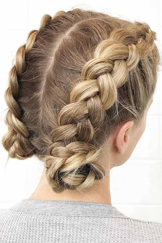 Dutch Braids For Short Hair Buns #braids #updo #bun