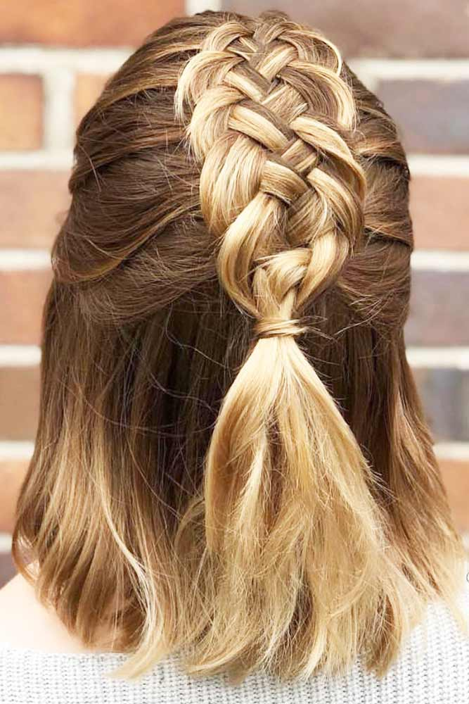 Pretty Braided Bob Haircuts Half-Up #bob #braids #half-up