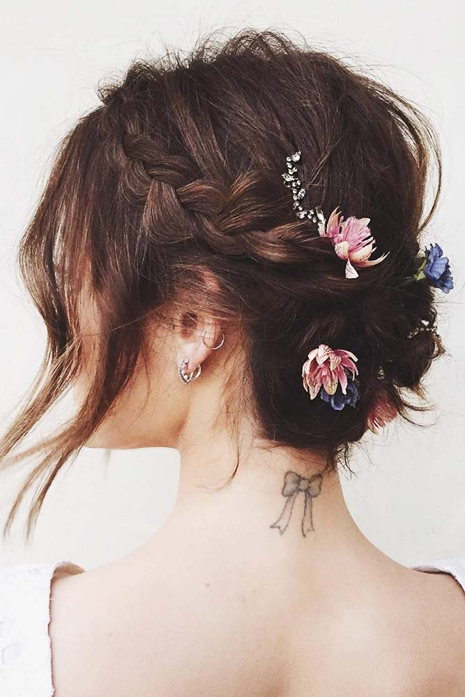 Ideas Of Braids For Short To Medium Hair Accessories #updo #braids