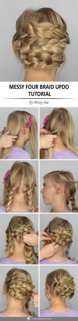 Messy Four Braid Updo Tutorial