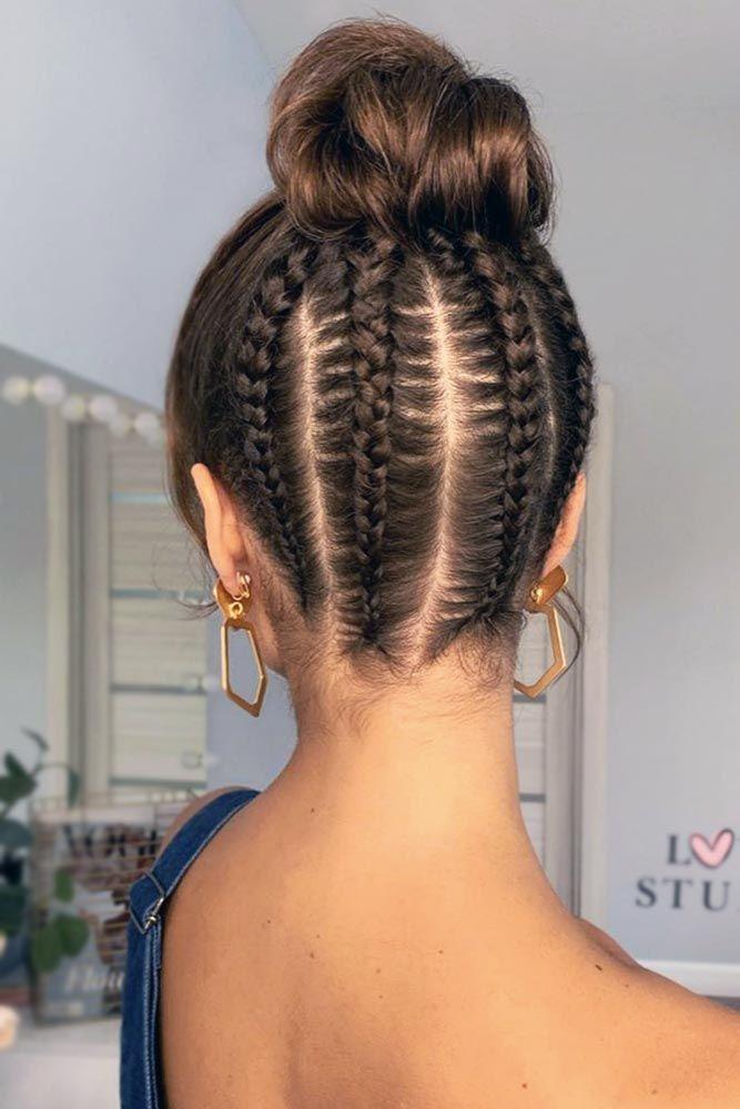 Cornrows Into Bun Bangs #updo #braids