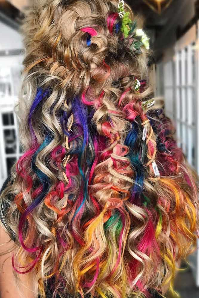 Brown & Hidden Rainbow Half-Up #rainbowhair