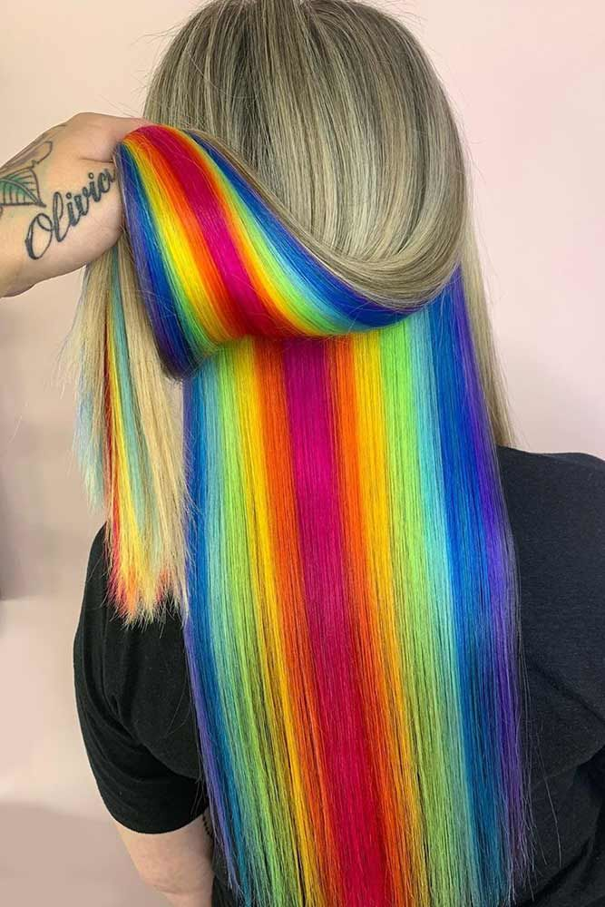 Hidden Rainbow Hair Under Dirty Blonde #rainbowhair