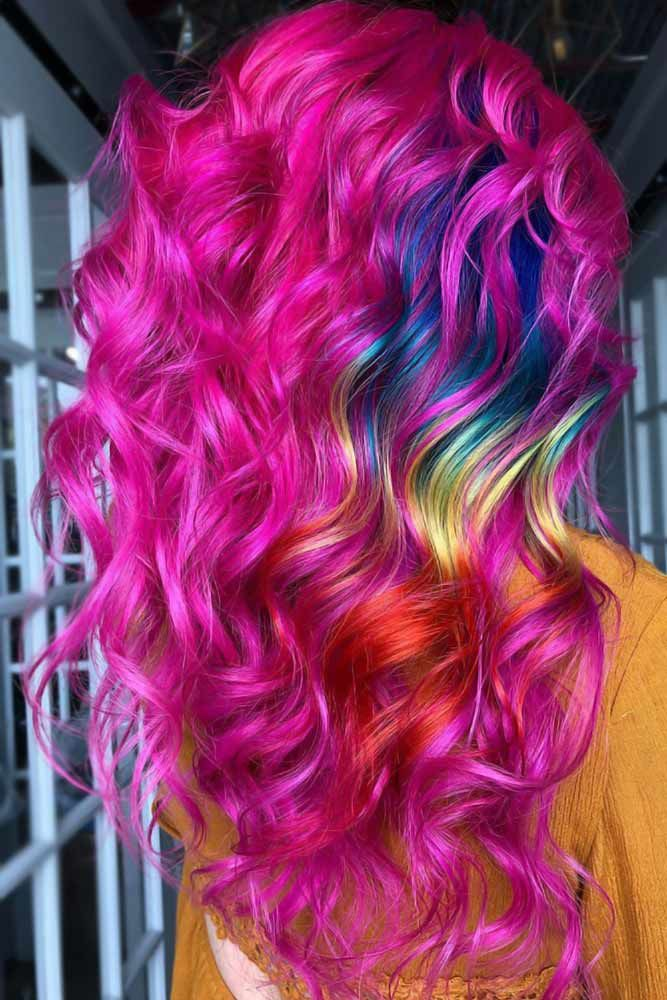Neon Colors And Hidden Rainbow Pink #rainbowhair