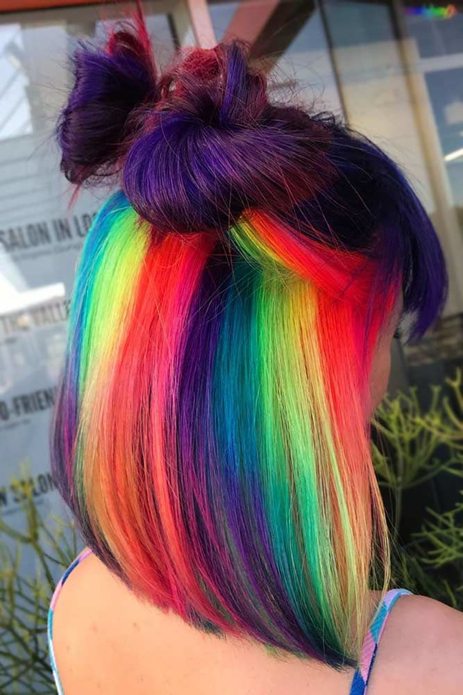 Dark Brunette And Hidden Rainbow Hair Purple #rainbowhair