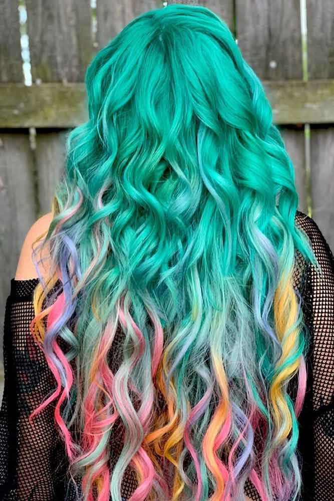 Blue Tones With Hidden Rainbow Hair Teal #rainbowhair