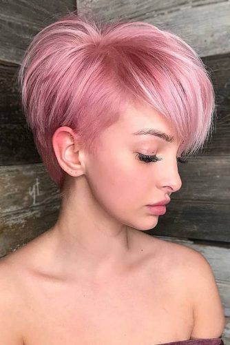 Hair Styles with Side Swept Bangs Pink Pixie