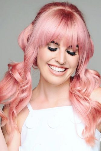 Cute Hair Styles with Bangs Pink Low Ponytails