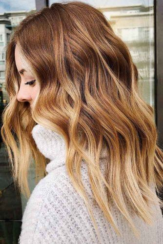 Wavy Strawberry Blonde Ombre Hair #ombre #blondehair #redhair