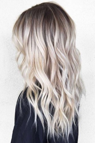 Ash Blonde Ombre Hair Style for A Long Hair Length #wavyhair #brunette #platinumblonde