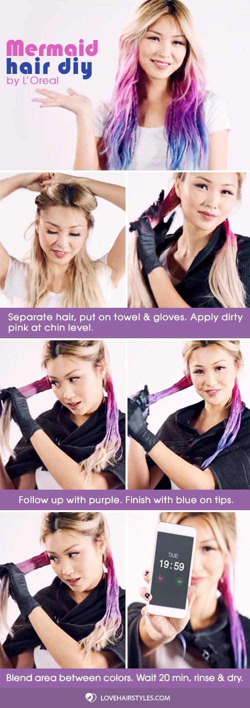 Mermaid Hair DIY #hairtutorial #mermaidhair