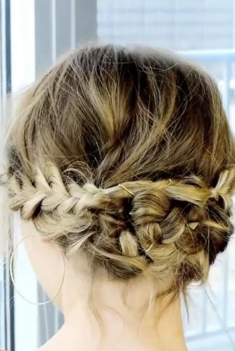 Braided Updo With A Messy Touch For Short Hair