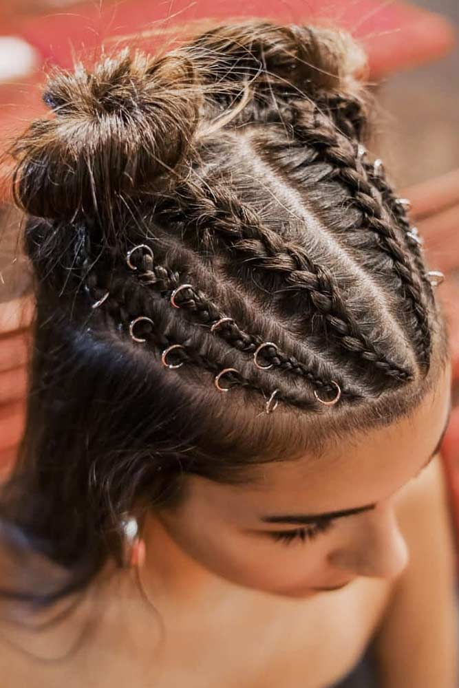 Braided Buns Half-Up #hairrings #hairaccessories #braids