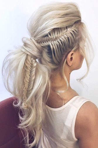 Side Fishtail Into Ponytail Hairstyle