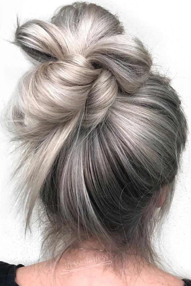 Platinum Balayage Bun #blondehair #platinumblonde