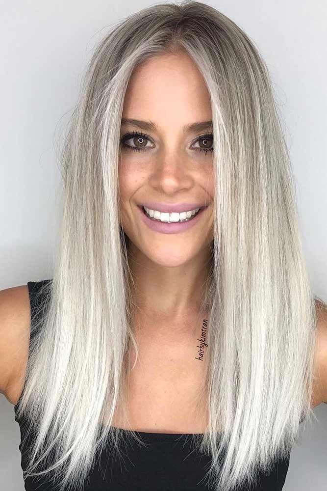 Platinum Balayage Straight #blondehair #platinumblonde