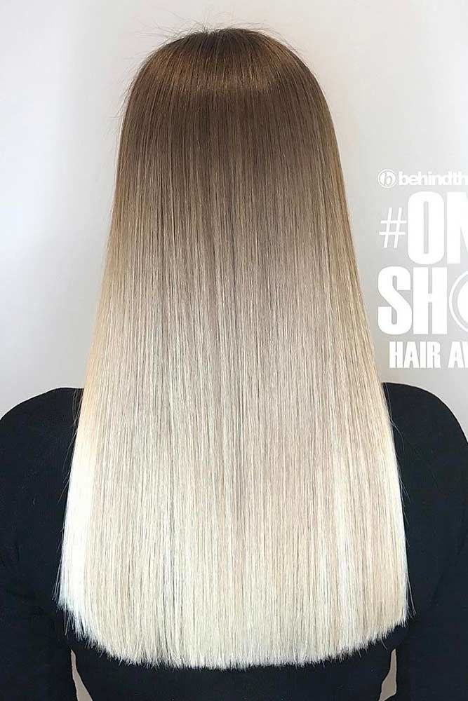 Platinum Blonde Natural Hair Ombre Sleek #blondehair #platinumblonde