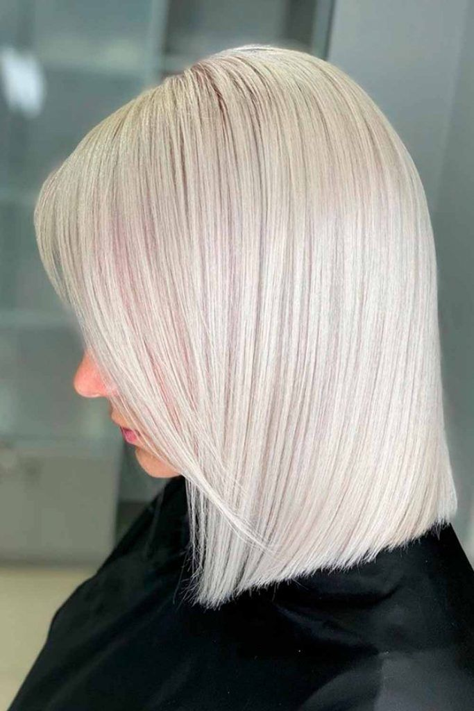 Mid-Length Winter White Platinum Blonde Hair #coldblond #hairstyles