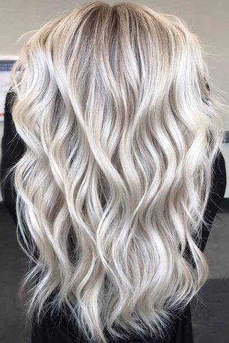 Long Layered Platinum Blonde Cut