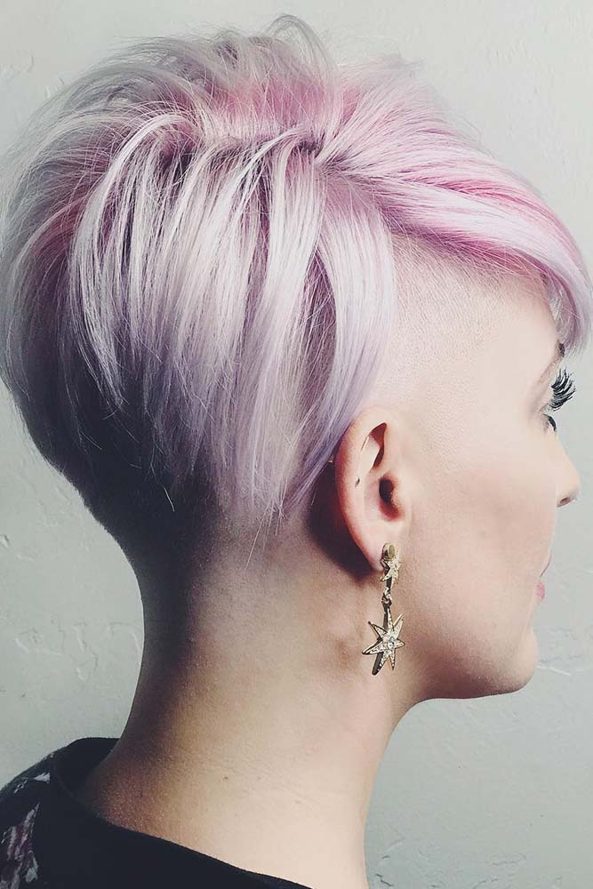 Sexy Pixie Haircut And Fade With Pink Roots