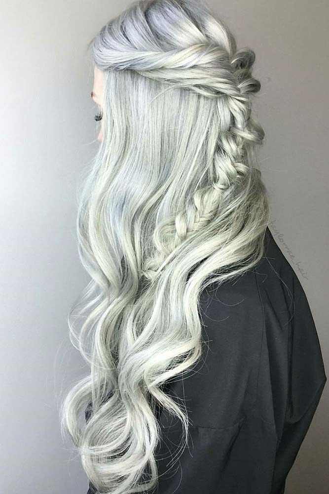 Platinum Silver Hair Color Half-Up #blondehair #platinumblonde
