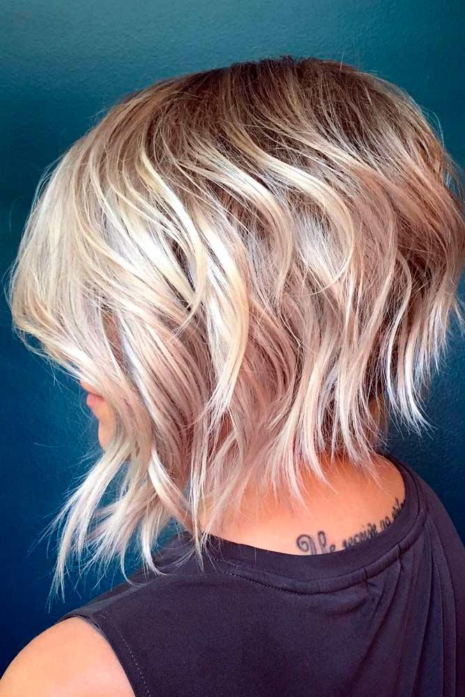 Blonde A line Layered Bob #shorthaircuts #bobhaircut #layeredhaircut #haircuts