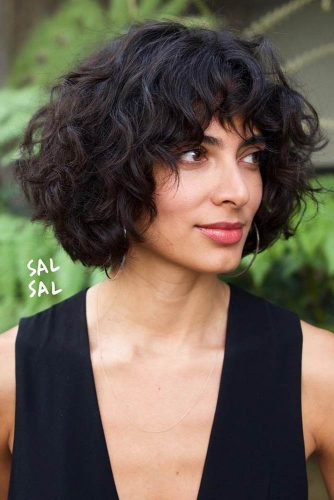 Curly Medium Bob With Bangs #shorthaircuts #bobhaircut #curlyhair