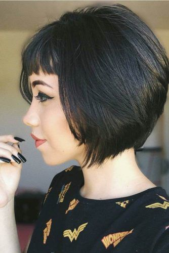 Black Layered Bob With Bangs #shorthaircuts #bobhaircut #layeredhaircut #haircuts