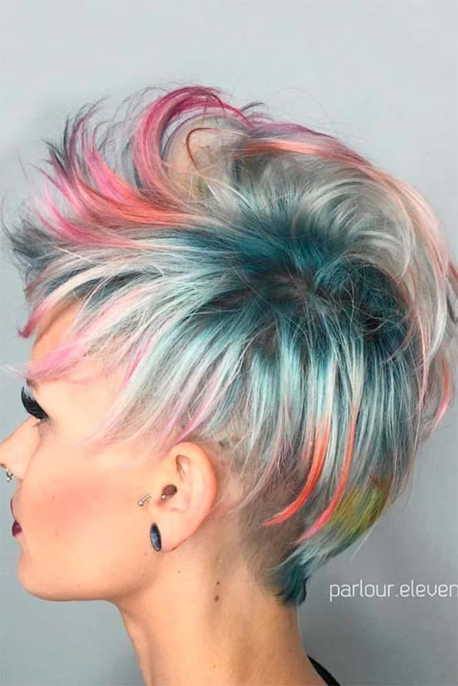 Colorful Pixie #shorthaircuts #pixiecut #layeredpixie