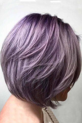 Lavender Layered Bob With Side Swept Bang #bobhaircut #shorthaircuts #layeredbob #bobwithbangs #lavenderhair