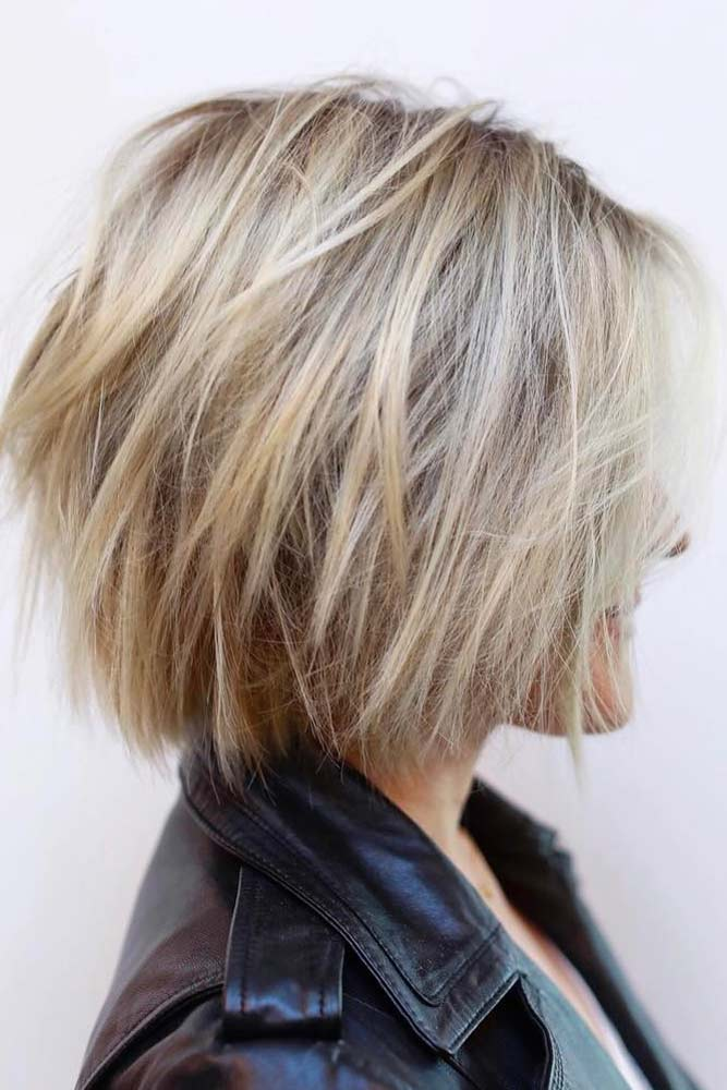 Blonde Layered Bob Haircut #shorthaircuts #bobhaircut #layeredhaircut #haircuts