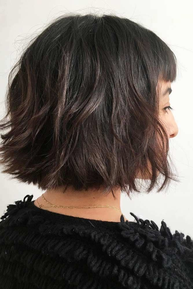 Blunt Bob With Bangs #shorthaircuts #bobhaircut #layeredhaircut #haircuts