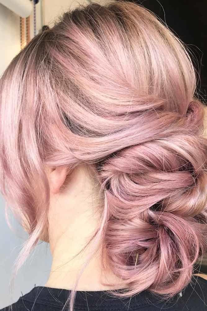 Long Bangs With Messy Updos Pink #longhair #bangs