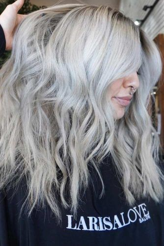 Silver Shade of Blonde Hair Color #blondehair #balayage