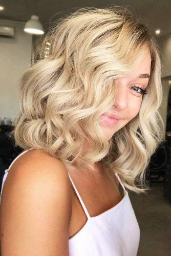 Light Sandy Blonde With Waves #wavyhair #bob #blondehair