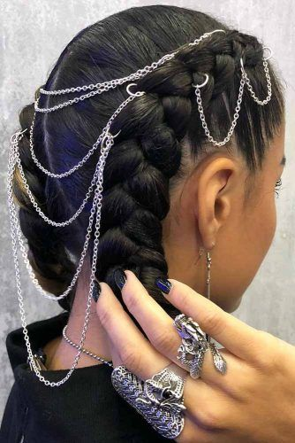 Hair Rings With Chains #hairaccessories