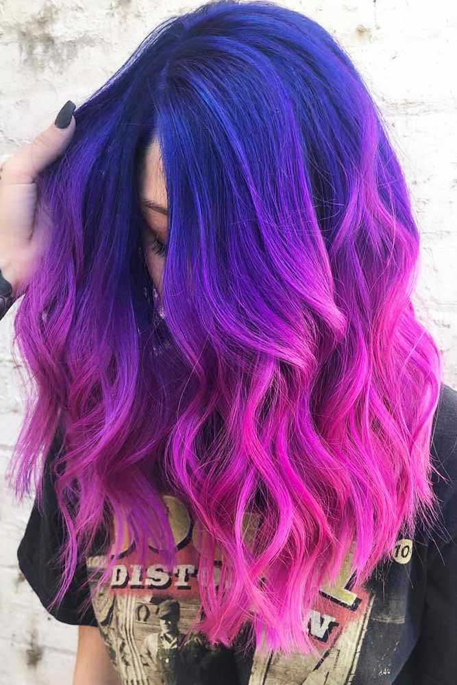 Blue To Pink Shades Ombre #haircolor #ombrehair