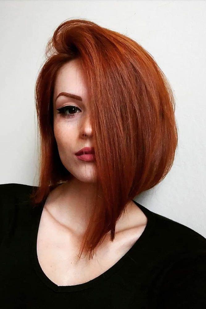 Auburn Straight Asymmetrical Bob #bobhaircut #asymmetricalbob #haircuts