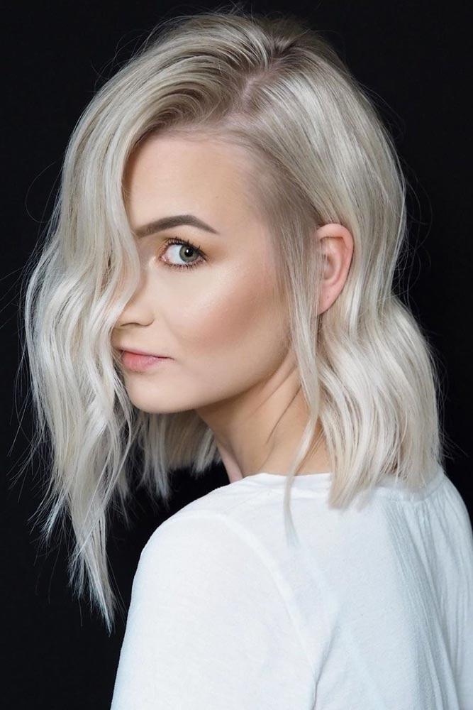 Ice Blonde Side Parted Asymmetrical Lob #bobhaircut #asymmetricalbob #haircuts