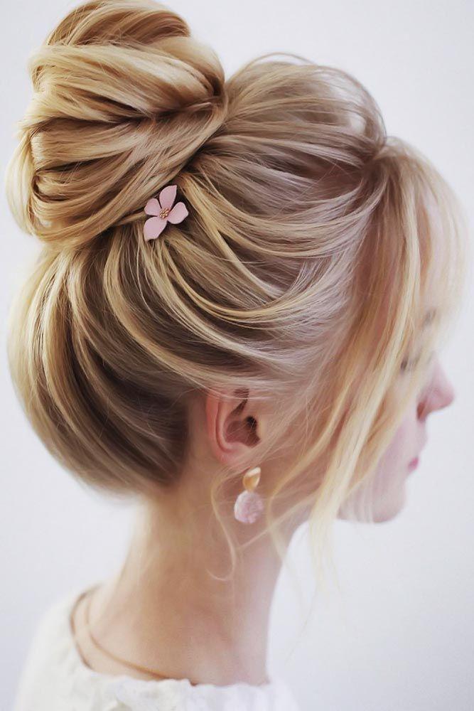 Formal Bun Styles With Bangs Blonde #bun #bangs
