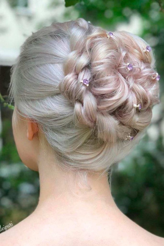 High Bun With Floral Accessories
