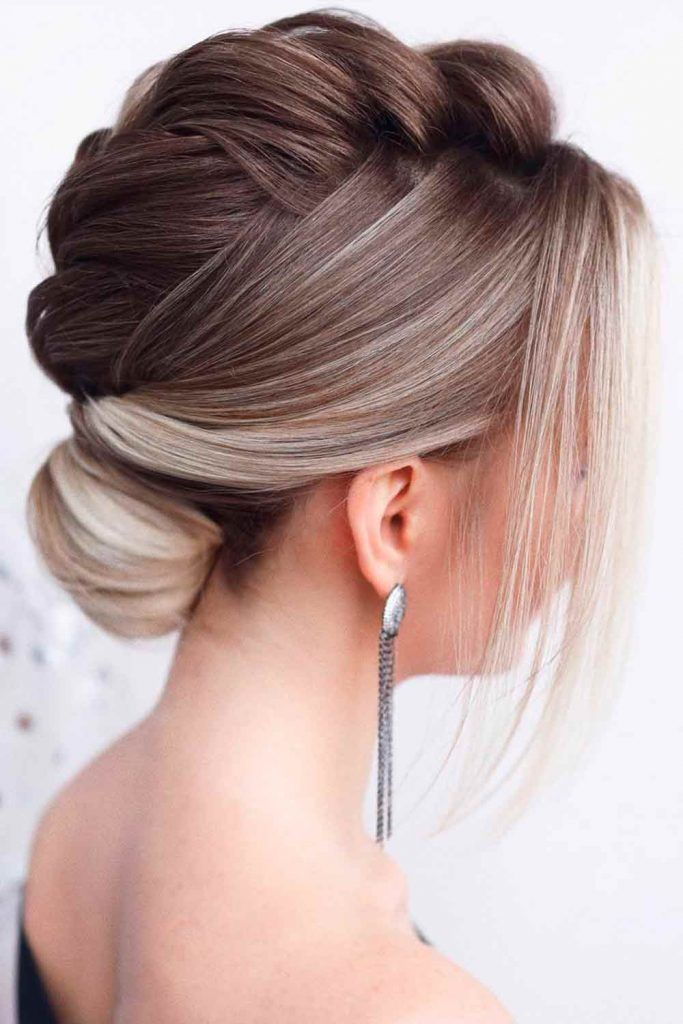 Low Bun With Braided Top #braidedhairstyles #easyhairstyles